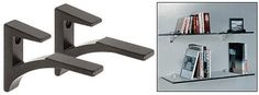 """CRL Black - Aluminum Glass Shelf Bracket for 3/8"""" to 1/2"""" Glass - Package by CRL. $19.80. C.R. LAURENCE SC5BL CRL Black - Aluminum Shelf Bracket for 3/8"""" to 1/2"""" Glass. These CRL Aluminum Shelf Brackets can be installed anywhere storage is needed. The black, chrome and white powder coated colors will go with any decor and can be used in any environment including retail display, kitchen, bath, office, laundry room or garage. These brackets will accommodate glass o..."""