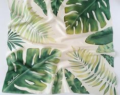 Monstera tropical silk scarf Green hand painted silk scarf Aniversary gifts for women Silk scarves Beach shawl green scarf Tropical leaves