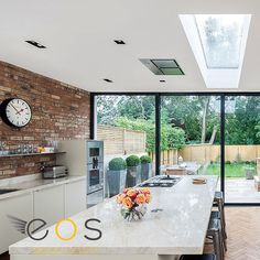 Generally, the kitchen is the heart of family life and the room we spend most time in — cooking, eating, socialising, working and relaxing — and an open-plan (or semi-open-plan) space is often the best way to use the new   extension. #kitchen #kitchenextension #rooflights #skywindows #eosrooflights