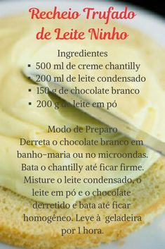 Esse recheio de leite ninho é ótimo para naked cake, bolo no pote e cupcakes. #bolos #recheios #receita #leiteninho #recheiotrufado #recheiocremoso #bolodepote #cupcake Coconut Recipes, Fudge Recipes, Cupcake Recipes, Cupcake Cakes, Snack Recipes, Easy Smoothie Recipes, Easy Smoothies, Good Healthy Recipes, Coconut Smoothie