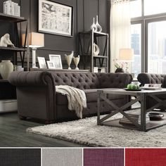 I am in love with this living room. Add graceful seating to you home with this Chesterfield sofa by TRIBECCA HOME. Showcasing a tufted back and rolled arms in dark grey linen, this elegant padded seat sofa can provide plenty of support and comfort in style.
