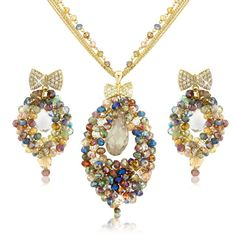 Hand Made Swarovski Beads #Bridal #Evening #Necklace Set Beautiful hand made bridal / evening necklace set made from swarovski CRYSTALLIZE Elements range crystals and beads. Each bead and crystal has been individual woven using a gold plated mesh. 100% hand made item of the finest quality and crystals designed by Crystal Elegance UK. http://www.crystaleleganceuk.co.uk/Hand_Made_Swarovski_Beads_Necklace_Set_252_d
