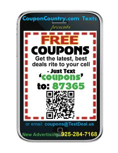 GET GREAT DEALS LIKE THESE  @ http://BayAreaCouponsEastBayCoupons.blogspot.com DELIVERED RIGHT TO YOUR CELL PHONE FOR EASY USE - OFTEN JUST SHOW YOUR PHONE AT THE STORE OR USE ONLINE. SIMPLY TEXT 'COUPONS' or 'BAYCOUPS' (Bay Area) to 87365 and you'll be added to our Text List for  latest deals as they happen. Absolutely No Cost or Obligation