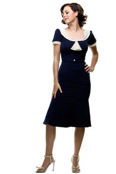 BEST SELLER! Stop Staring 1940's Style Navy & Ivory Railene Dress - S to 3X - Unique Vintage - Homecoming Dresses, Pinup & Prom Dresses.