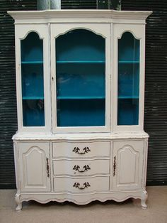 Bassett White Turquoise Heavy Distressed China Cabinet (MLD)Call for SHIP QUOTE.