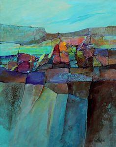 Mixed media abstract landscape, Calico Vista Carol Nelson Fine Art