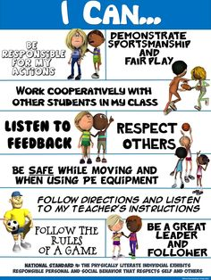 PE Poster: I Can...(Standard 4; Personal and Social Behavior Statements)