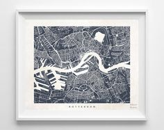 Rotterdam Map, Netherlands Print, Rotterdam Poster, Netherlands Art, Street Art, Baby Shower Gift, Map, Illustration, Christmas Gift