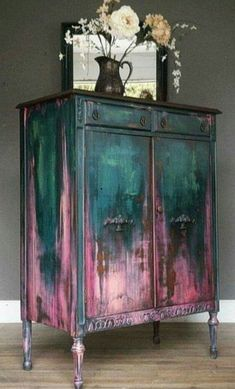 teal and pink antique closet, # teal . - teal and pink antique cabinet, # teal - Funky Furniture, Upcycled Furniture, Furniture Projects, Furniture Makeover, Garden Furniture, Furniture Design, Rustic Furniture, Barbie Furniture, Bohemian Furniture