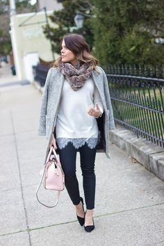 A lady like outfit: white lace sweater, coated denim, black pumps