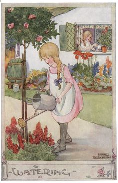 'Watering'. Anne Anderson illustration scanned from 'The Gillyflower Garden Book', c1915.