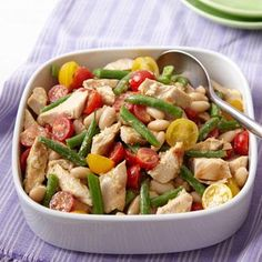 This two bean and chicken salad is a great lunch (it's delicious in a wrap!) or served with pasta for dinner.