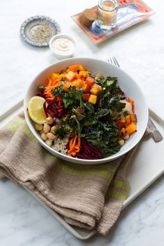 Brown Rice Winter Vegetable Cashew Lemon Bowl | http://saltandwind.com