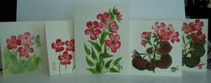 Check out Hand Painted GERANIUM NOTECARDS - Set of 5, blank inside, includes 5 envelopes - A great anytime gift! on 57artifacts