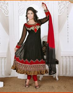 Color:Black,Red Collection: Rashmi Top Fabric: Faux Georgette Bottom Fabric: Santoon Dupatta Fabric: Nazneen Inner : Santoon Sleeve:Half/Full Work: Embroidery Season:Any Size: 36 to 40. Weight: 1 k.g Style: Readymade Anarkali Suits Occasion: Traditional Wear, Causal wear,Ethnic wear,All Festival,Party wear Time to Ship:Ready To Ship