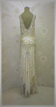 Joanne Flemming Design - Alice 1920s style ankle-length design in beaded silk georgette