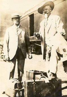H.H. Tammen and Buffalo Bill Cody on the Kansas City station platform in 1913. Possibly it relates to the deal made for the Col. to be featured with the Sells-Floto Circus for the next few seasons. This would be comparable with the engagement of Tim Mix with the Floto Show fifteen years later.