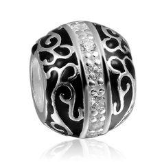 Black Enamel Sterling Silver Bead Charm w/ White Stones, fits Biagi, Troll, Chamilia, Pugster European Bracelets