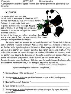 The panda: reading exercise, Education French Language Lessons, French Language Learning, French Lessons, French Teaching Resources, Teaching French, Learning French For Kids, French Practice, French Worksheets, French Education