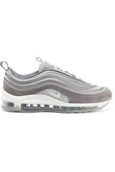 Nike - Air Max 97 Velvet, Nubuck And Rubber Sneakers - Gray Air Max 97, Nike Air Max, Jeans And Sneakers Outfit, Designer Shoes Heels, Air Max Sneakers, Sneakers Nike, Rubber Shoes, Manolo Blahnik, Velvet