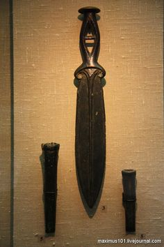 Bronze dagger and chisels.  Saratov Province. II millennium BC. Historical Museum, Moscow