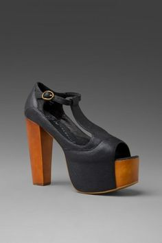 Jeffrey Campbell Foxy Wood Black Leather