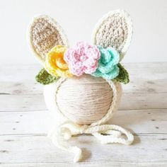 Crochet Baby Bunny Rabbit Flower Bonnet Hat Beanie Infant Newborn Baby Easter Spring Handmade Photography Photo Prop Baby Shower Gift Present