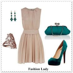 Khaki dress with green accessories