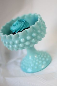 Turquoise Blue Milk Glass Pedestal / Aqua by TheRocheStudio, $80.00