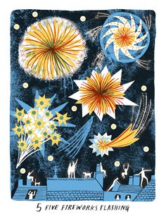 From her Bantam picture book this is Alice Pattullo 's Five Fireworks Flashing to celebrate November the Alice Pattullo is an illus. New Year Illustration, Christmas Illustration, Children's Book Illustration, Winter Illustration, Fireworks Art, Alice, Ecole Art, Artsy, Drawings