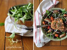 Salmon Nicoise Salad. YUM!  Love the addition of potatos!