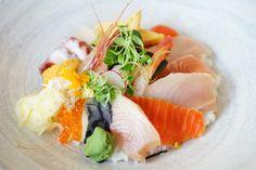 Chirashi Donburi - assorted seafood Fairmont Pacific Rim, Lobby Lounge, Raw Bars, Cocktails, Drinks, Sushi, Seafood, Rolls, Menu