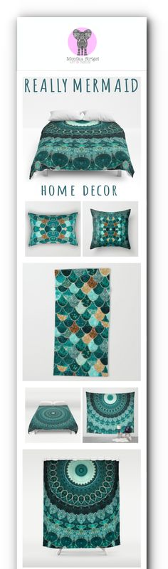 Finally the home decor products are now updated for REALLY MERMAID ! Find everything you need for the perfect room! Pillows, duvets, comforters, rugs, towels .... ! Click to shop!