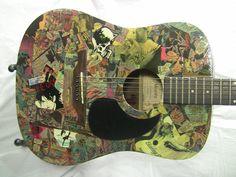 Decoupage Collage Custom Guitar
