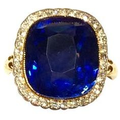 11.37 Carat GIA Cert Rare Unheated Natural Blue Sapphire Diamond Gold Ring
