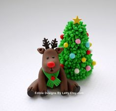 Edible Fondant Reindeer Cake Topper and by EdibleDesignsByLetty