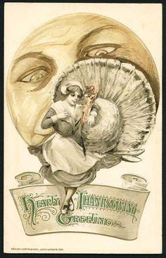 Scarce Schmucker Winsch Thanksgiving PC Pilgrim Girl Turkey Moon Face | eBay