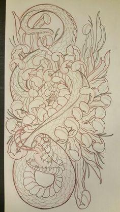 Japanese Snake Tattoo, Japanese Tattoo Designs, Tattoo Sketches, Tattoo Drawings, Best Sleeve Tattoos, Leg Tattoos, Dream Catcher Vector, Anubis Tattoo, Knee Tattoo