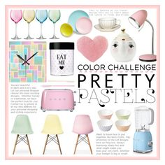 """""""Color Challenge: Pretty Pastels"""" by sabbbycat ❤ liked on Polyvore featuring interior, interiors, interior design, home, home decor, interior decorating, Ciel, Smeg, LSA International and Royal Doulton"""