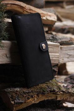 Black Leather Clutch Bag/ Men's Wallet Handmade/ Leather Clutch Bag/ Clutch Purse/ Accessories Handmade/ Three Snails Free Shipping