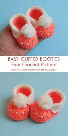 How to Crochet Cuffed Baby Booties - Crochet Ideas Booties Crochet, Crochet Slippers, Baby Booties, Baby Knitting Patterns, Baby Patterns, Crochet Patterns, Sewing Patterns, Knitting Tutorials, Loom Knitting