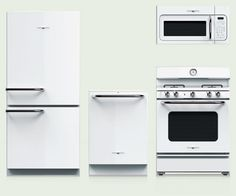 The GE Artistry line of appliances achieves the unthinkable: It makes black and white cool again. High-gloss finishes, instead of tired stainless steel, and Americana design touches, such as metallic trim and analog clocks, exude a cohesive, polished look at a price that'll leave you with enough cash to redo the cabinets, too. About $2,400 for the fridge, dishwasher, microwave, and range; geappliances.com | thisoldhouse.com