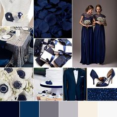 """Our favorite #winterwedding #colorpalette #midnightblue #silver #glamour www.gobespoke.co/blog"""