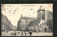 AK Berlin-Neukölln, Böhmische Kirche und Schudomastraße  gelaufen 1915 als Feldpost