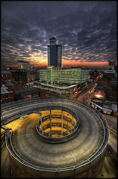 Manchester, England at sunset.  Look at the Piccadilly Hotel.  Used to go here to have my hair cut.
