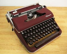 For Sale On Ebay--Olympia SM3 DeLuxe Typewriter Burgundy Red 1959 Script Cursive Font
