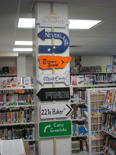 Library signage to fictional places.  I could so mae this out of cardboard! @K D Eustaquio Smith
