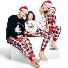 d9d3a48791a87 Winter Warm Family Matching Christmas Bear Letter Printing Tops Plaid Long  Pants Pajamas Sets Kids Parents Sleepwear Nightwear