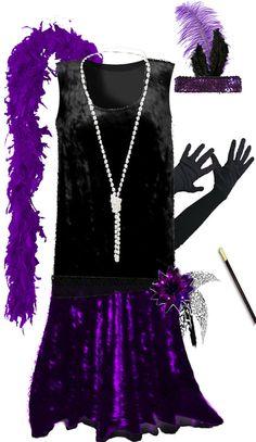 Black / Purple Roaring 20's PLUS SIZE Flapper Dress Halloween Costume 1x to 8x picclick.com