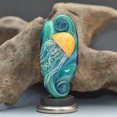 lg sea nettle jellyfish lampwork glass sculpture by